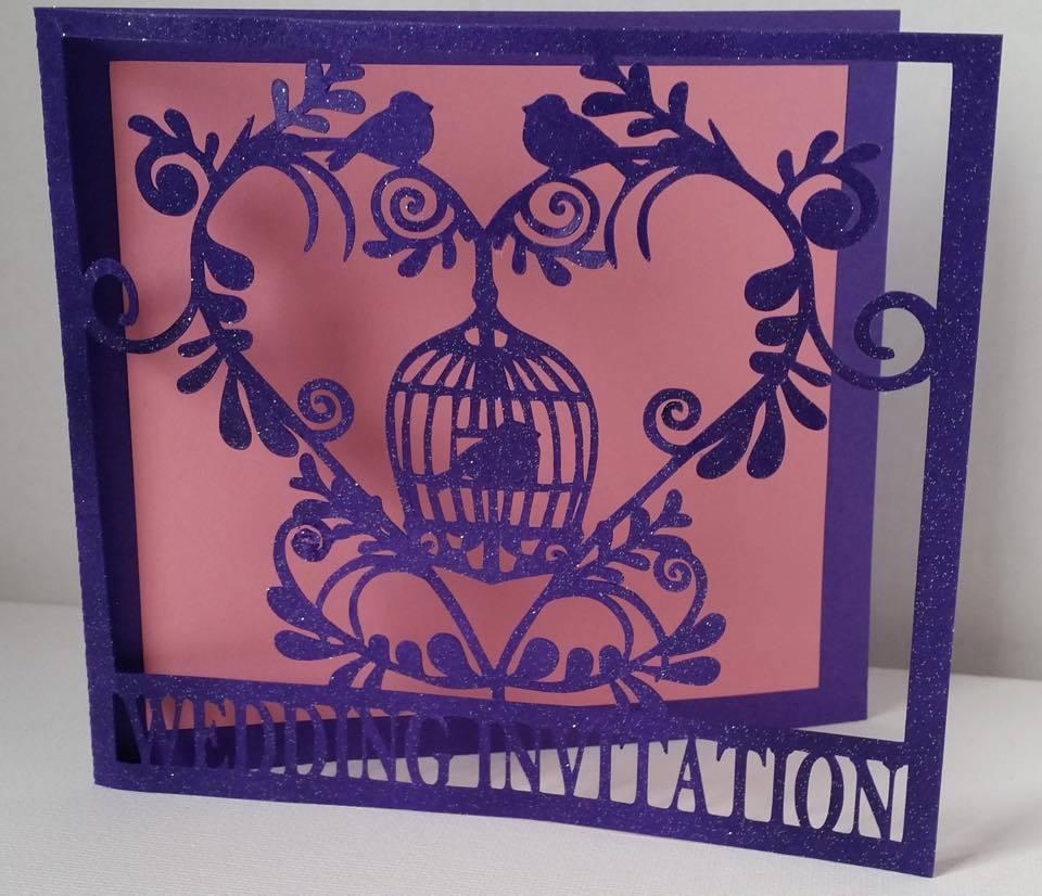 Wedding Set Heart and Bird Cage-  INVITATION    studio file