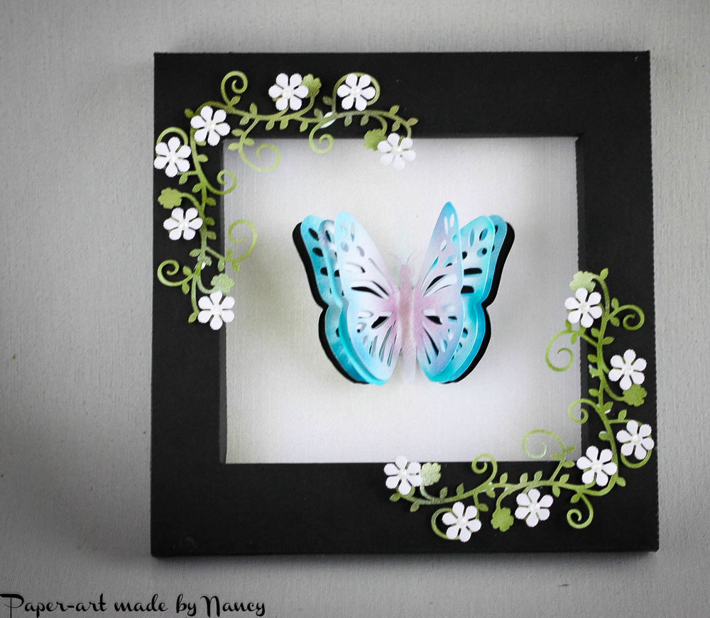 Layered Butterfly Pop Out complete in its own Shadow Box Frame - studio file