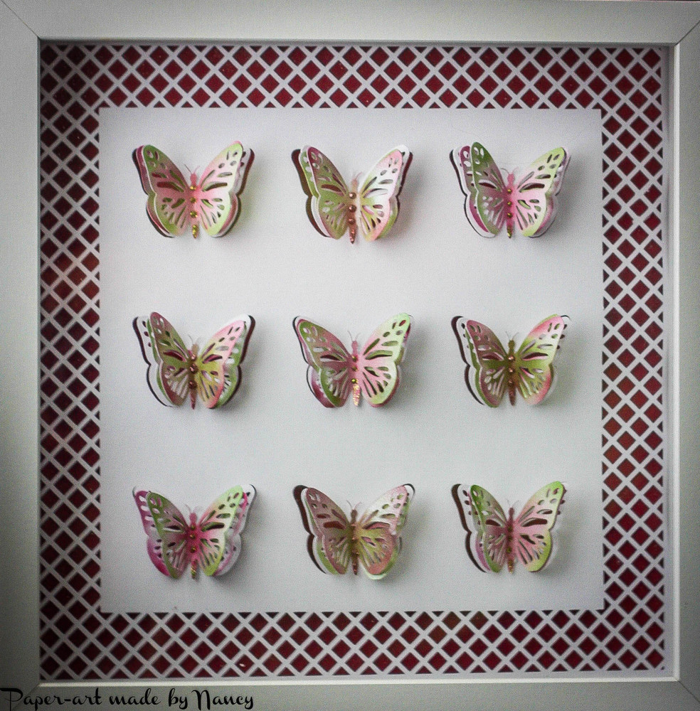Layered Butterfly Pop Out Collage   design (c)  3 x 3  (with trellis frame ) - SVG format