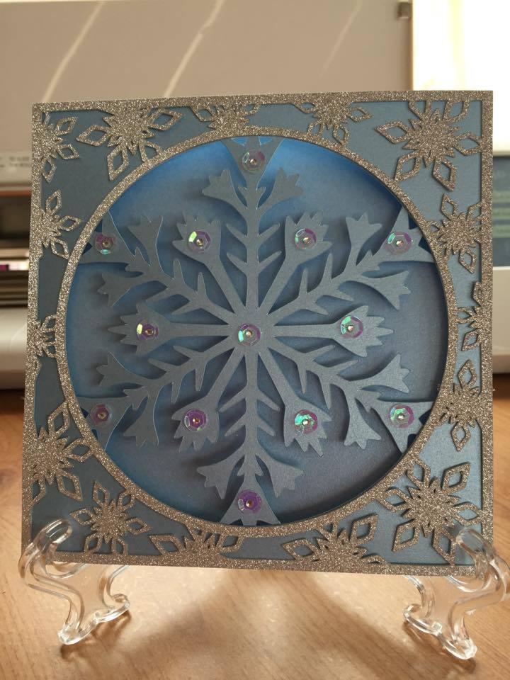 Frozen Snowflake Christmas Card and border frame