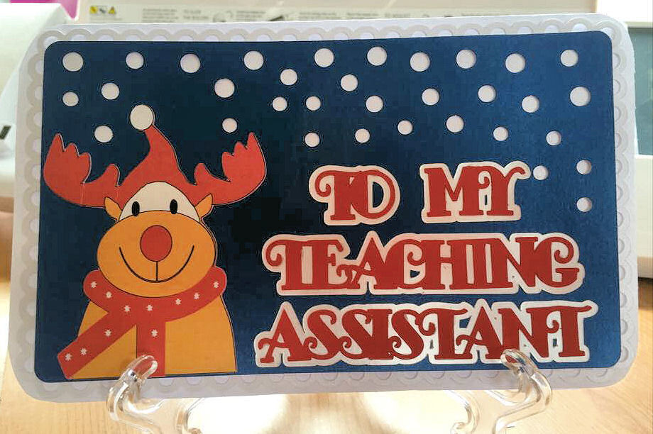 Happy Christmas TEACHING Assistant Card Topper with Rudolph