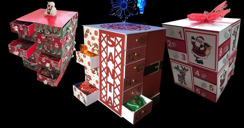 24 drawer Advent Cube ( with optional Christmas Santa Outfit and cut out panel decor bits)