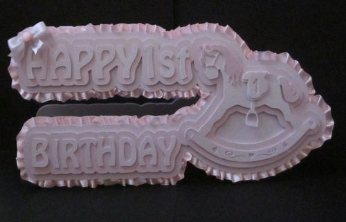 Rocking horse 3D Card Template 1st birthday svg