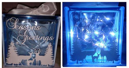 Winter Deer  Glass Block Tile Design svg / fcm