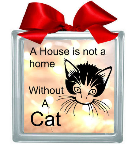 Cat 'House Is Not A Home' Glass Block Tile Design 6x6 inches svg