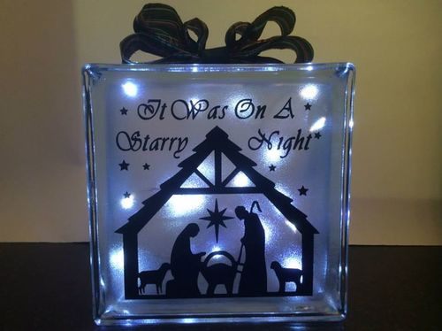Nativity  Glass Block Tile Design 6x6 inches SVG