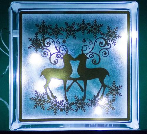 Reindeer and snowflakes  Glass Block Tile Design 6x6 inches  SVG / fcm