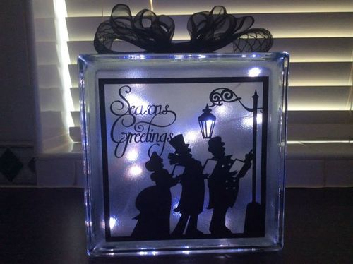 Seasons Greetings Carol Singers Glass Block Tile Design 6x6 inches SVG / FCM