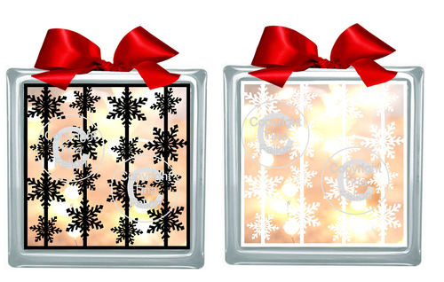 Snowflake Garlands  Glass Block Tile Design 6x6 inches SVG
