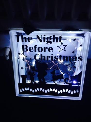 Santa ' The Night Before Christmas' Glass Block Tile Design 6x6 inches SVG / FCM