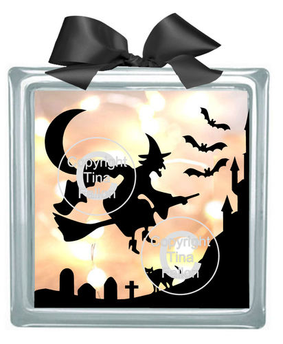 Halloween Witch No2  Glass Block Tile Design SVG