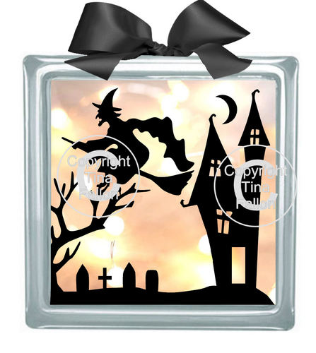 Halloween Witch No3  Glass Block Tile Design svg