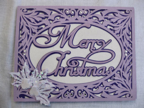 Christmas Card SVG Template - Merry Christmas in a pretty frame setting 2 layered
