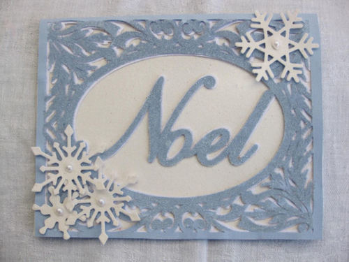 Christmas Card SVG Template - Noel in a pretty frame setting 2 layered