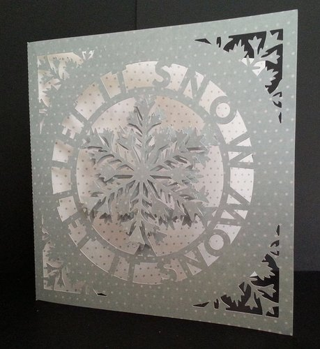 SNOWFLAKE LET IT SNOW CIRCLE - FCM  CARD TEMPLATE WITH ADDITIONAL SNOWFLAKE FOR 3D