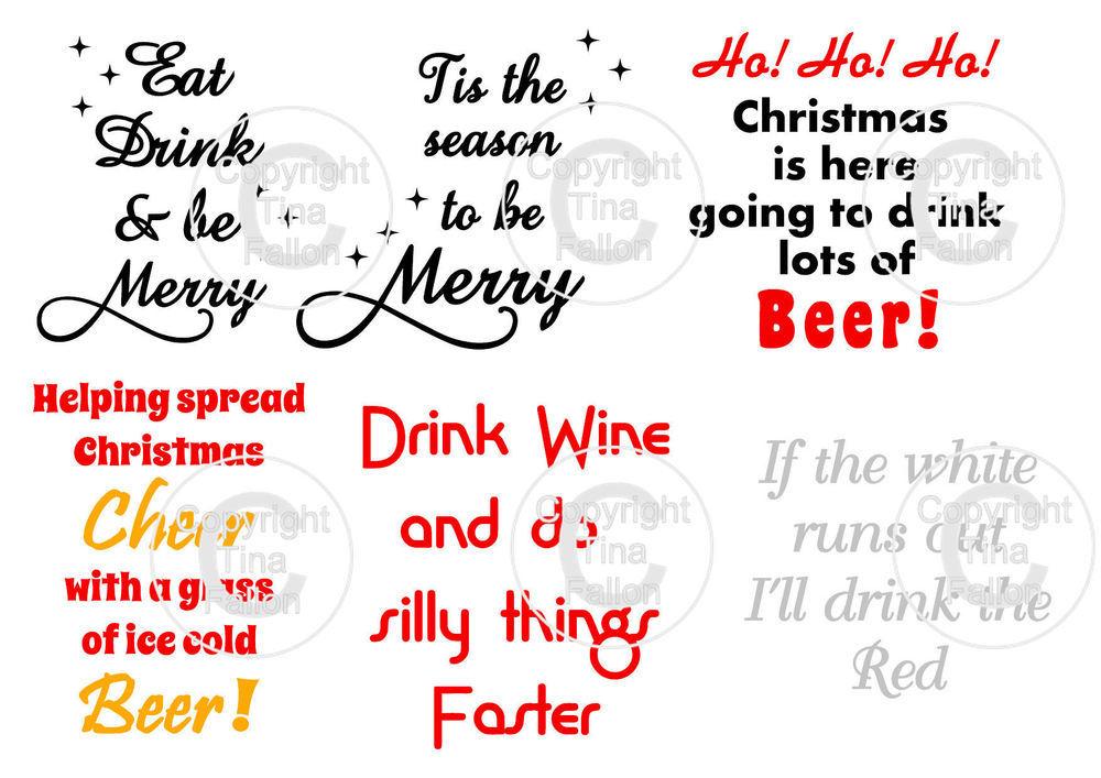 Christmas Drinks  -  ideal for vinyl application on wine / beer glasses - svg format