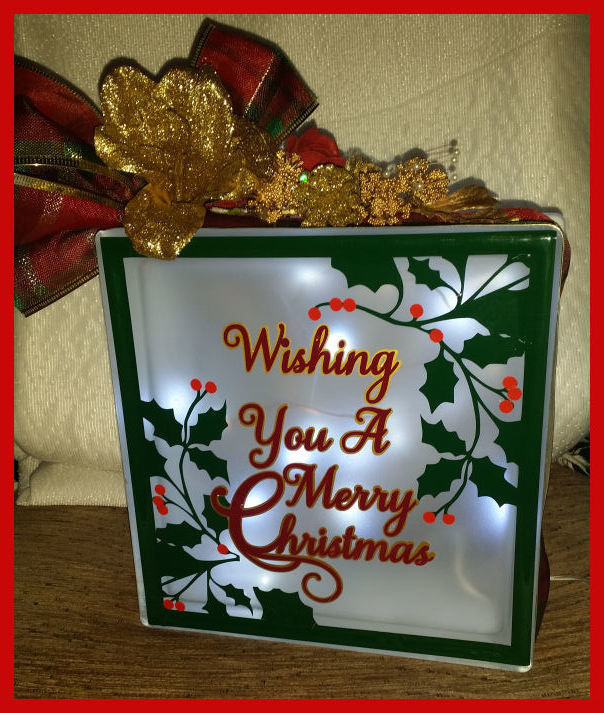 Merry Christmas Holly Frame Glass Block Tile Design 6x6 inches