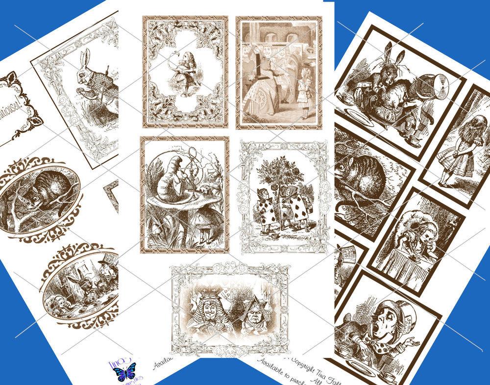 Alice in Wonderland  - 70 assorted toppers  (Brown on white ) - studio format print n cut