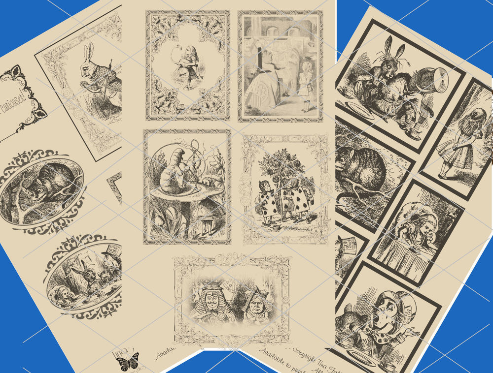 Alice in Wonderland  - 70 assorted toppers  (Aged effect ) - studio format print n cut