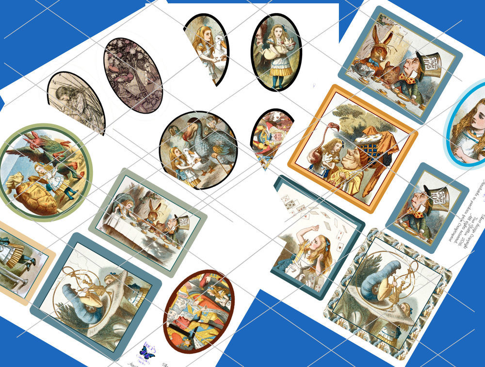 Alice in Wonderland  - 21 assorted toppers  (full colour) - studio format print n cut