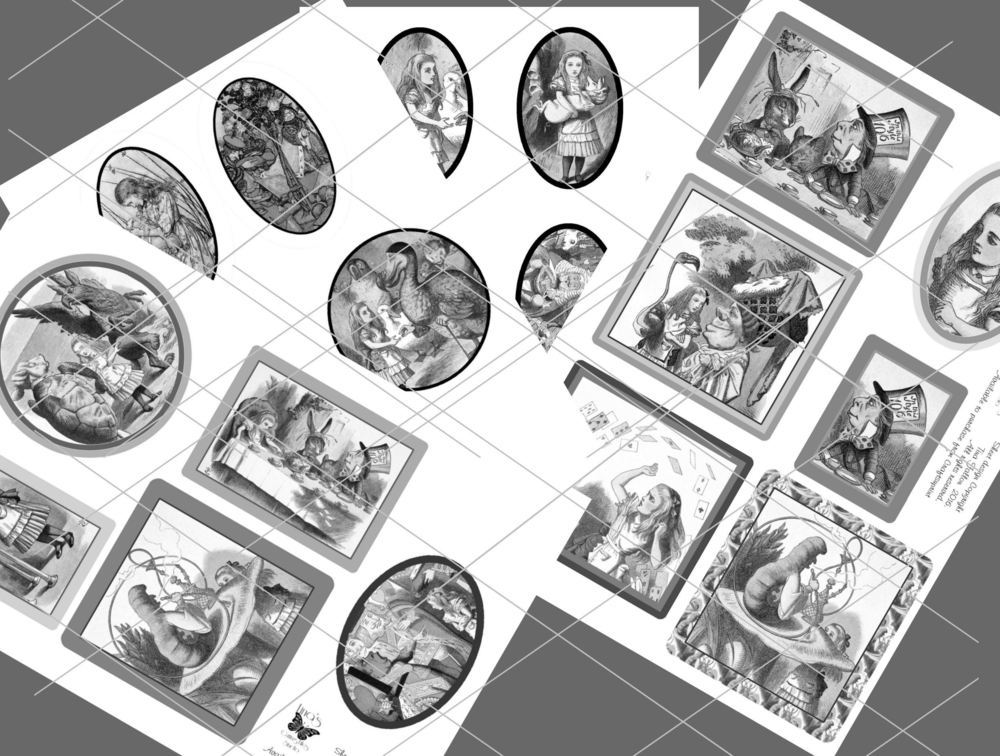 Alice in Wonderland  - 21 assorted toppers  (grey scale) - studio format print n cut