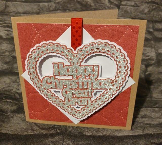 Christmas Heart Gran Card Topper / Hanging Ornament
