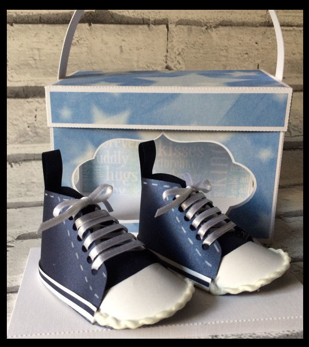 Baby Boys Converse style Shoe / trainer with box and complimentary blue boy worded backing paper