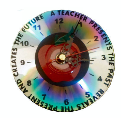 Teacher Creates The Future Clock Face for CD's / 45's / LP's and 78's