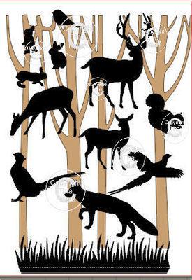 Decorative Winter Woodland Scene bits, animals, trees, deer