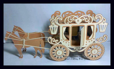 Princess Carriage with optional horses and boxes 3d model