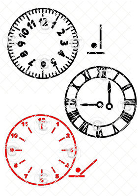 3 Clock Faces with moveable hands