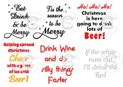 Christmas Drinks  -  ideal for vinyl application on wine / beer glasses - studio format