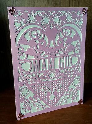 Grandmother mam-gu Welsh Card (with box)  beautiful cutout design.