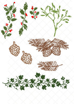 Festive Foilage for Christmas, Holly Mistletoe Pine Cone,  Pine Bough and Ivy.