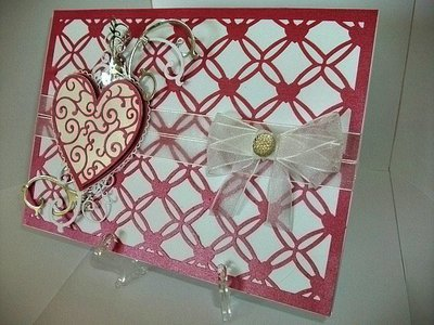 Entwined Hearts trellis frame die cut or emboss / engrave  A5 Landscape size