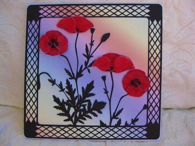 Poppy Frame (cut file) with 3d decoupage sheet for the poppies PNC