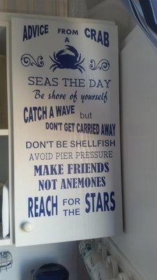 Advice From A Crab ,  Beach, marine, nautical word art - studio