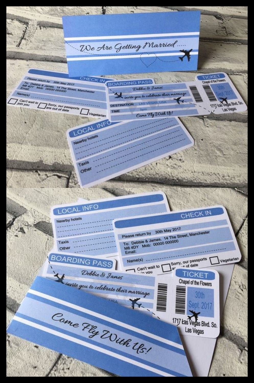Boarding Flight Ticket - Wedding Wallet Invitation Pack fully editable see details