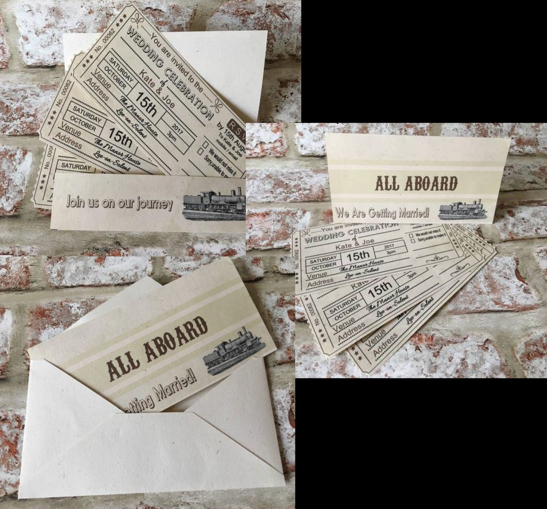 Vintage Train Ticket - Wedding Wallet Invitation Pack fully editable see details