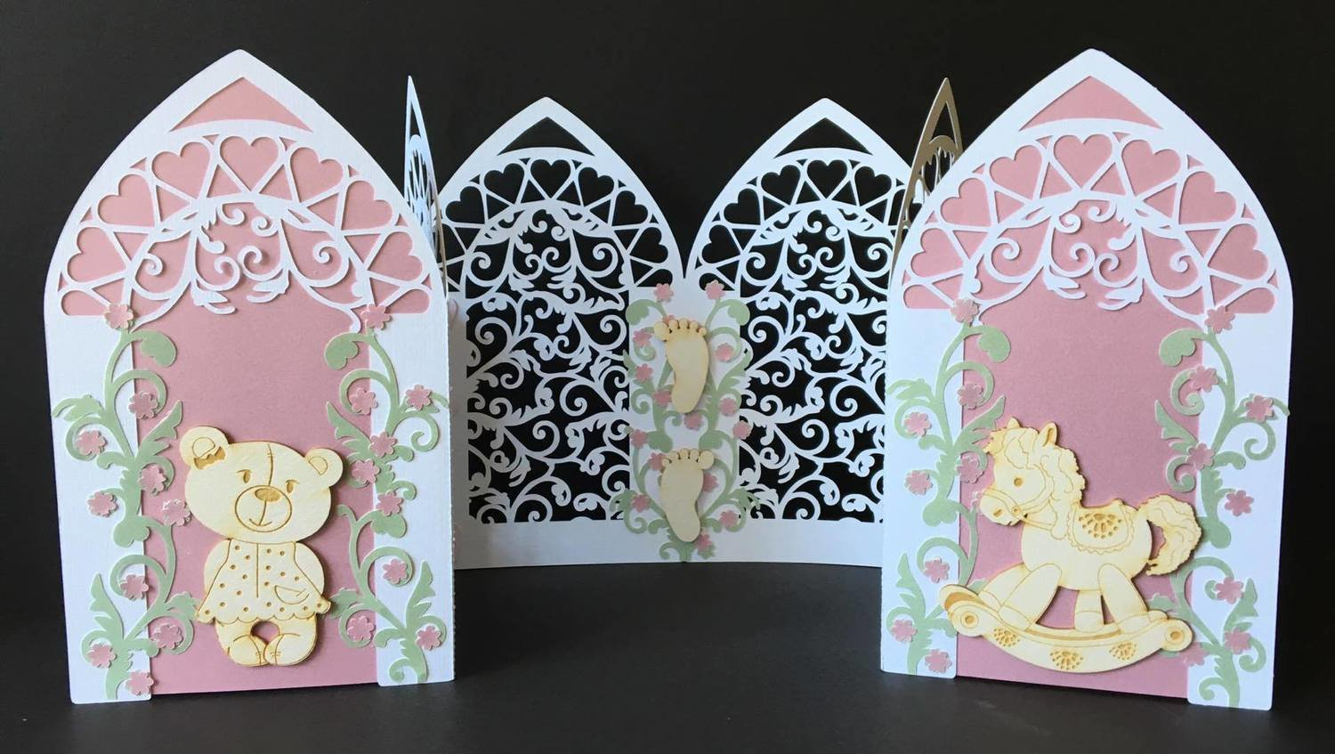 Triple Arch fold card with Filigree  SVG.