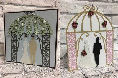 Wedding Gazebo Pagoda Arch mix  n match card and topper set