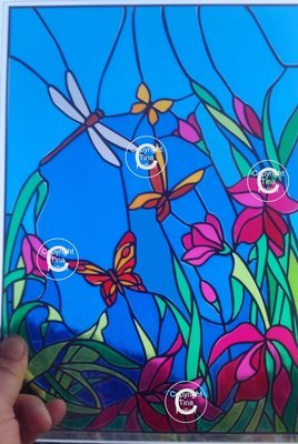 Birds and butterflies Scene - great with stained glass vinyl  FCM format inc tutorial