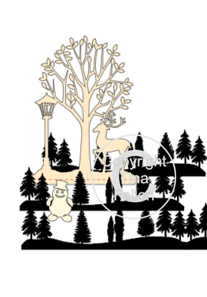 Christmas dome / bell jar woodland scene - studio format