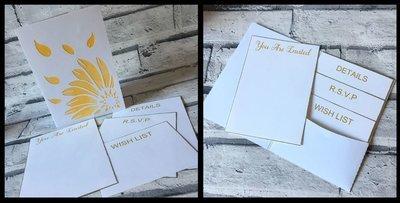 Flower Head Wedding Pocket Invitation Commercial Use Studio Format