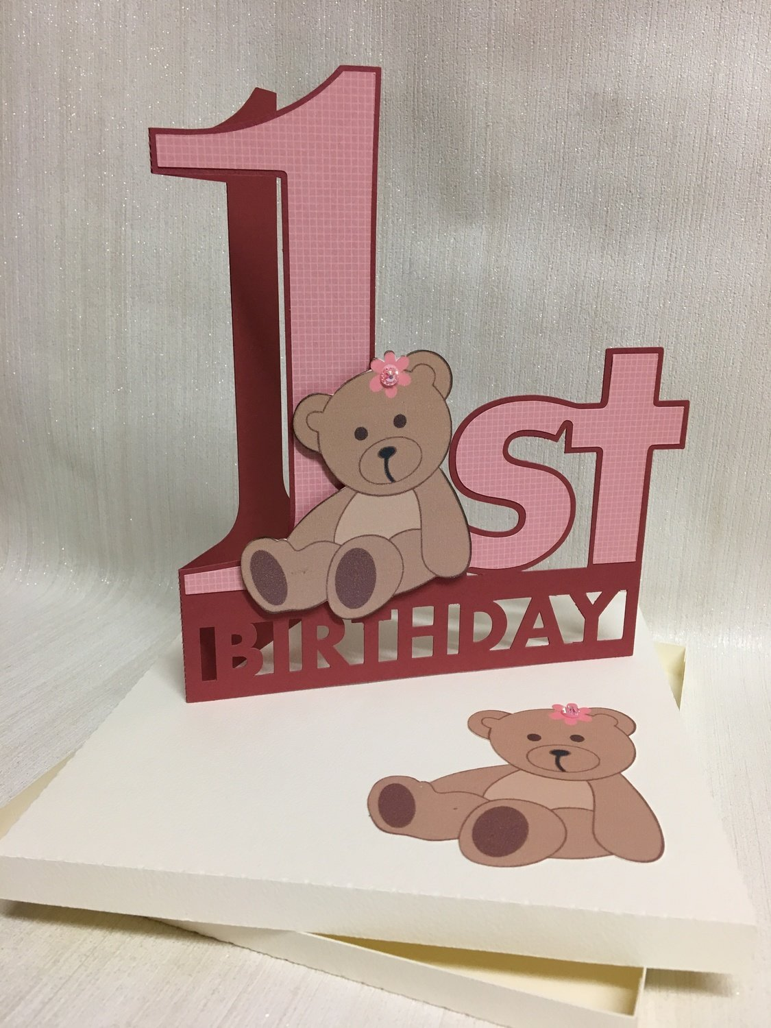 Shaped 1st Birthday Card with Teddy detail and card box  - studio format