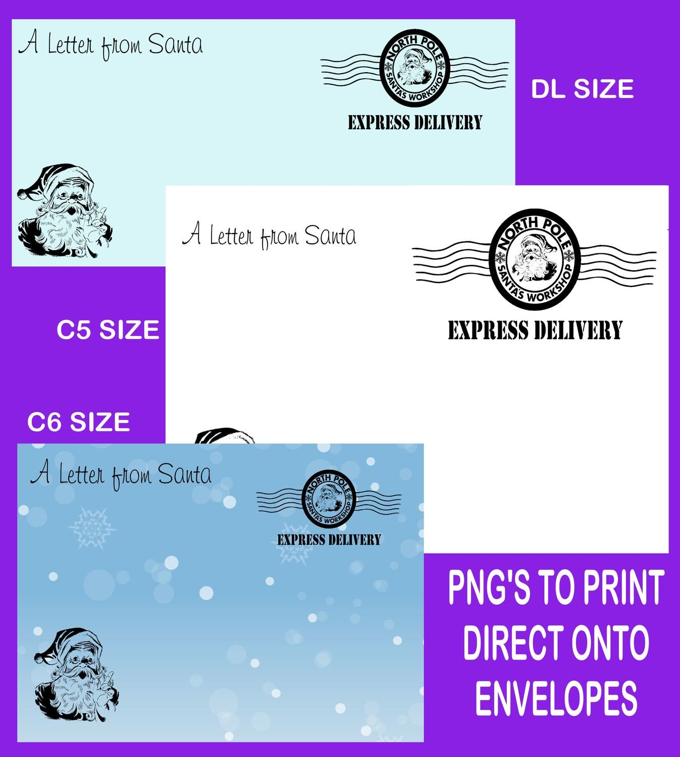 Letter from Santa Envelope printable set 1 READ DESCRIPTION - DL /C6/C5 Transparent PNG and JPEG printable
