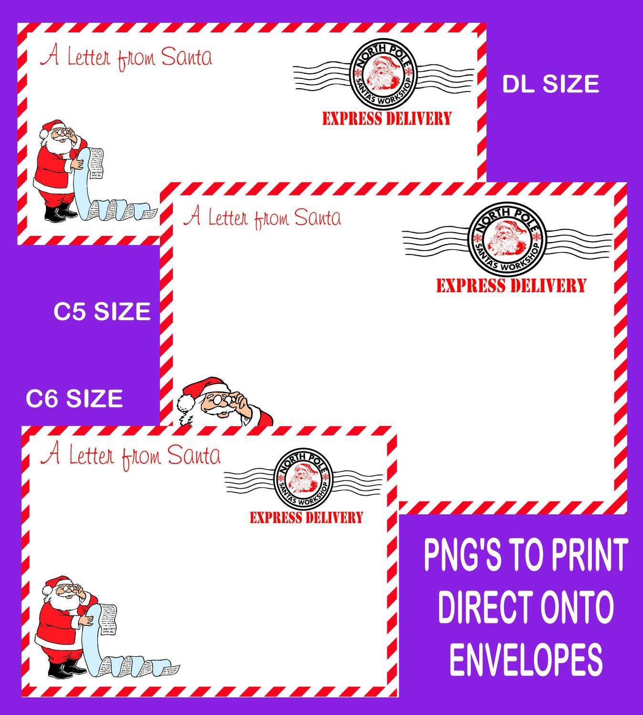Letter from Santa Envelope printable set 4 READ DESCRIPTION - DL /C6/C5 Transparent PNG and JPEG printable