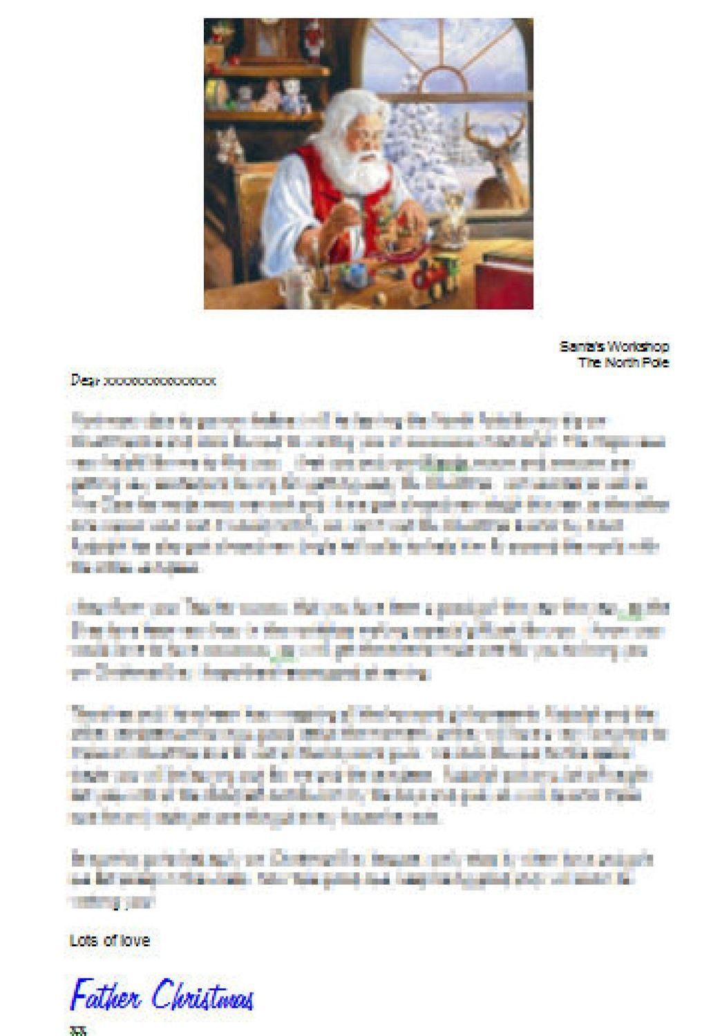 Editable Personalised letter from Santa studio and  Word doc format - commercial use
