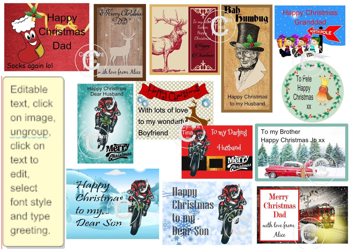 Christmas cut n print labels for male men masculine with editable text - for Silhouette cutting machines or PDF/JPEG