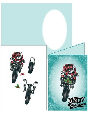 Bikers Motorbike  Christmas Card 3d Silhouette studio print n cut  or handcut jpeg